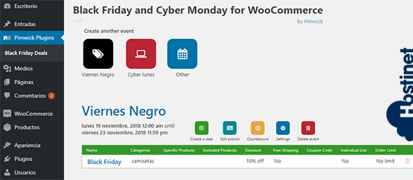 Plugin Black Friday and Cyber Monday Deals para WooCommerce - Gestionar