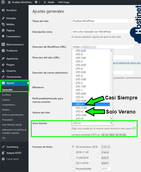 WordPress Ajustes Generales Zona Horaria