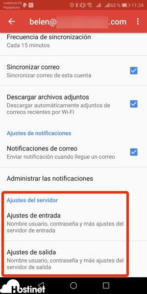 app gmail ajustes servidores Android