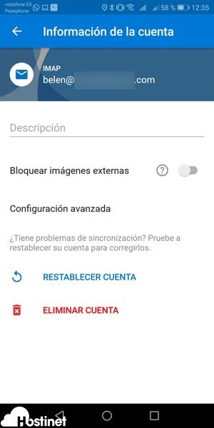 app outlook eliminar cuenta Android