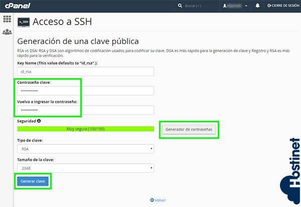 cPanel Acceso SSH Contraseña