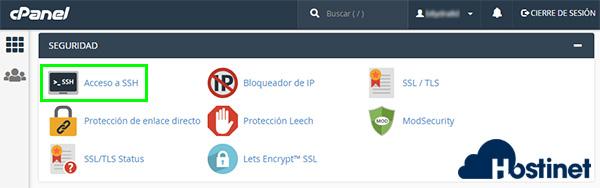 cPanel Seguridad Acceso SSH