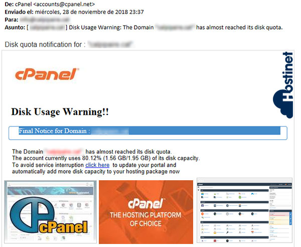 cpanel phising email malo