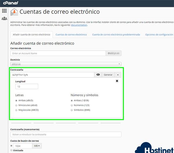 cpanel v74 crear cuenta email contraseña
