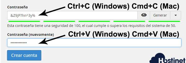 cpanel v74 crear cuenta email contraseña 2