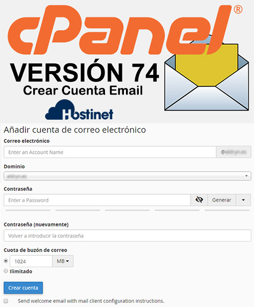 cPanel v.74: Crear Cuenta Email