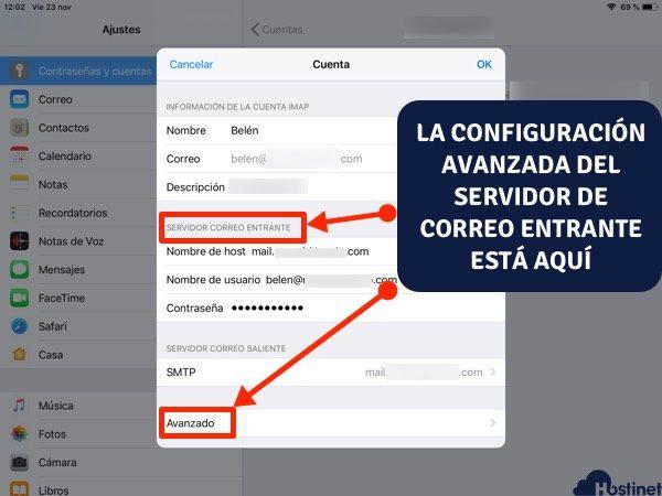 datos cuenta email avanzado ios - iPhone iPad