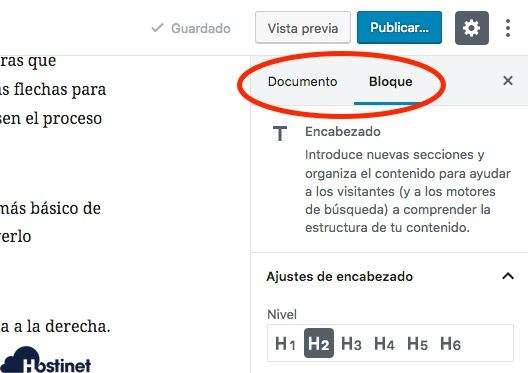 documento bloque gutenberg WordPress