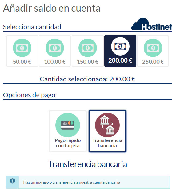 hostinet saldo en cuenta transferencia bancaria