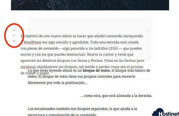 mover bloques gutenberg WordPress