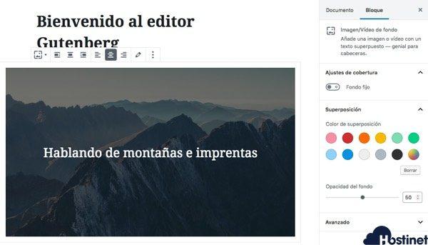 opciones imagen texto fondo gutenberg WordPress