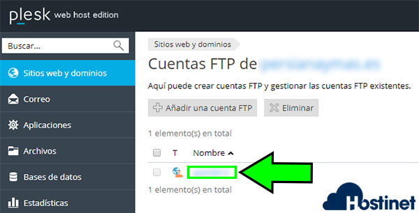 plesk acceso ftp cuentas