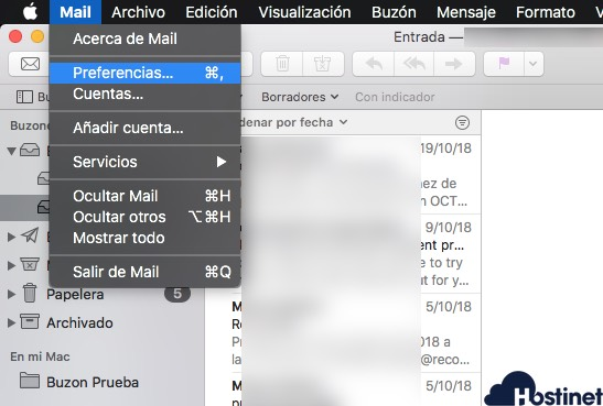 revisar configuracion email macos preferencias - correo electrónico