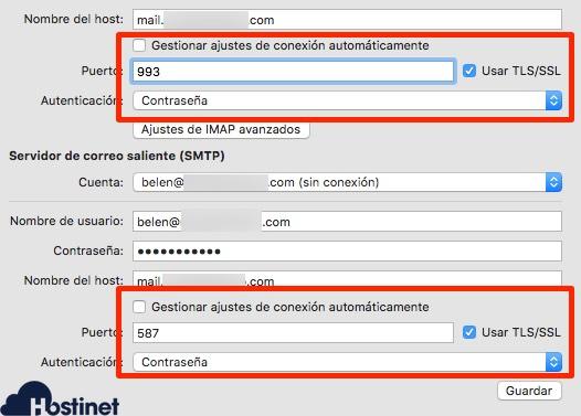 revisar configuracion email macos revisar puertos - Correo electrónico
