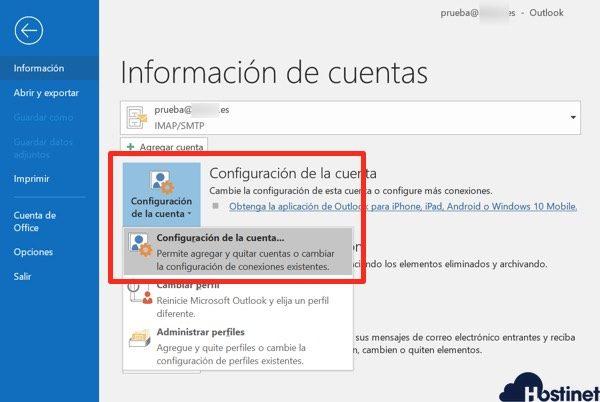 revisar outlook configuracion cuenta - Hostinet.com