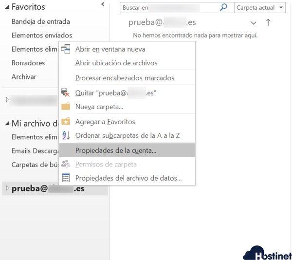 revisar outlook propiedades cuenta - Hostinet.com