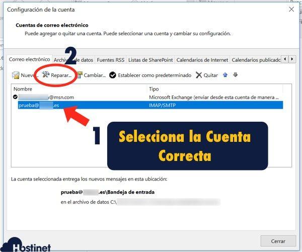 revisar outlook reparar cuenta - Hostinet.com