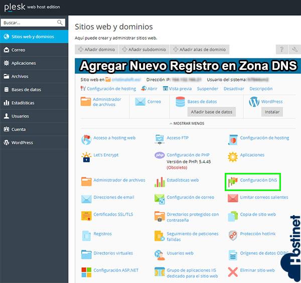 Cómo Agregar Nuevo Registro en Zona DNS (Plesk)