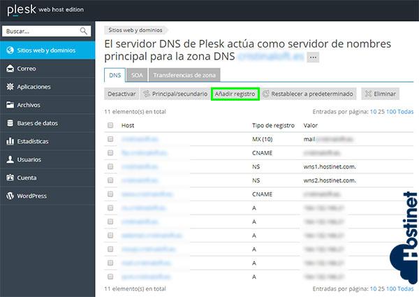 Cómo Agregar Nuevo Registro en Zona DNS (Plesk) 2