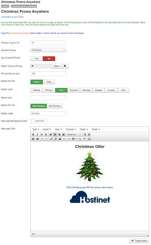 Plugin Christmas Promo Anywhere para Joomla - Configuración