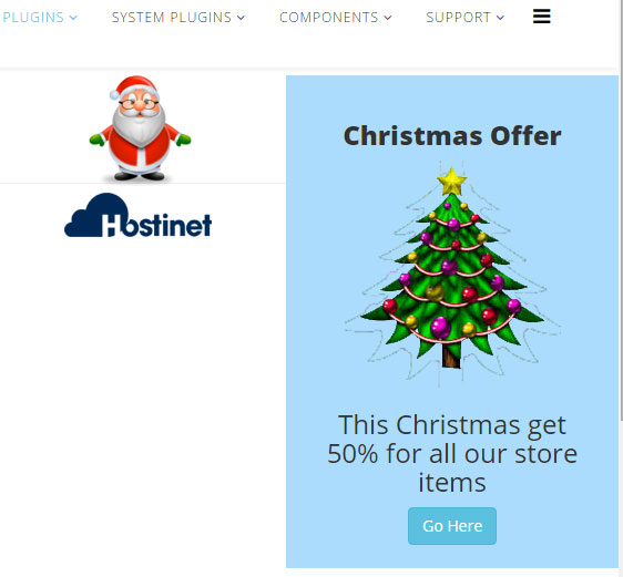 Plugin Christmas Promo Anywhere para Joomla - Front