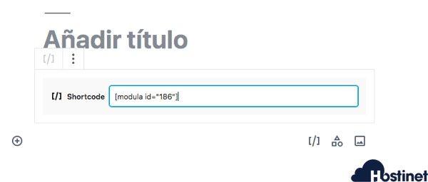 anadir shortcode modula WordPress