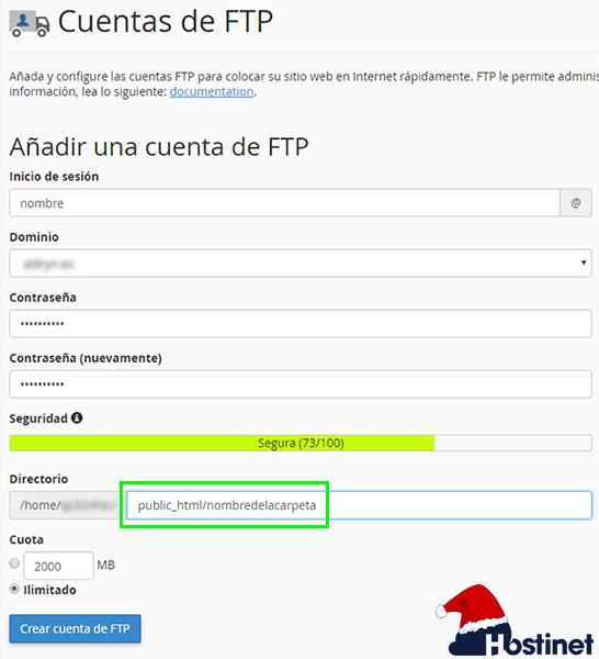 cPanel Crear Cuenta FTP - Public_HTML (Nombre Carpeta)