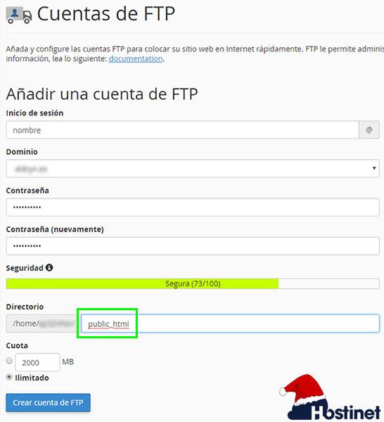 cPanel Crear Cuenta FTP - Public_HTML
