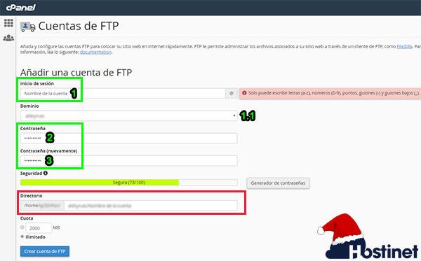 cPanel Crear Cuenta FTP