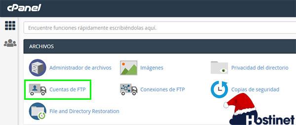 cPanel Cuentas de FTP
