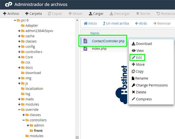 PrestaShop Contactcontroller.php Edit