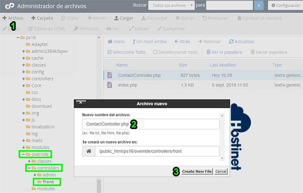 PrestaShop Crear Contactcontroller.php