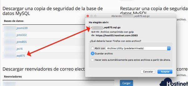 woocommerce descargar backup base datos cPanel - Hostinet
