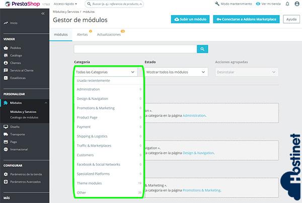 PrestaShop 1.7.5.0 Categorización Módulos