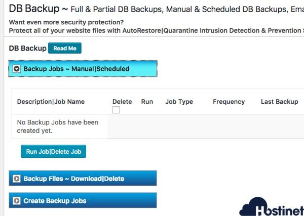 bps security db backup WordPress