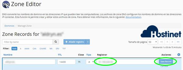 cpanel zone editor administrar editar registro A save record