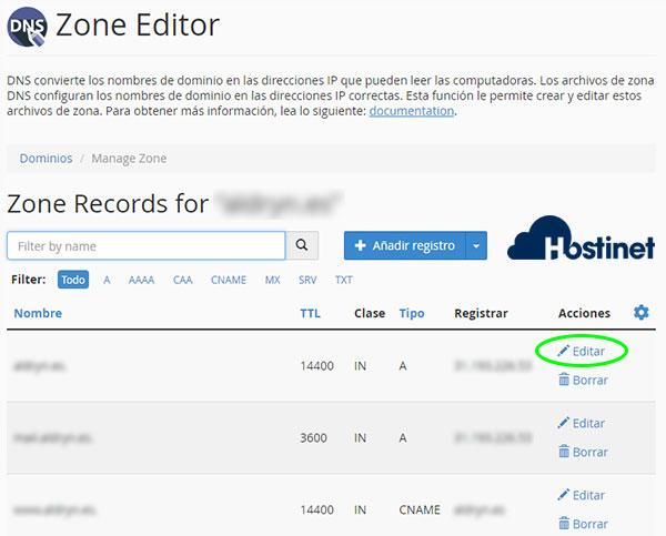 cpanel zone editor administrar editar registro A