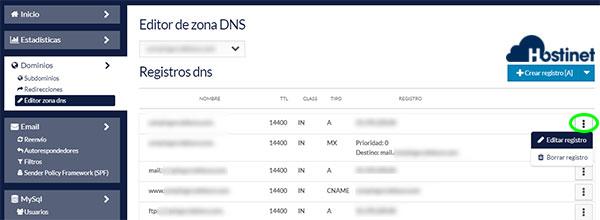 hostinet panel cliente editor zona dns 3 puntitos editar registro