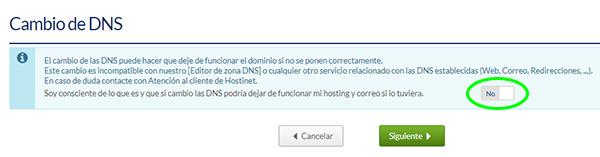 Panel de cliente Hostinet - Cambiar DNS (Interruptor)