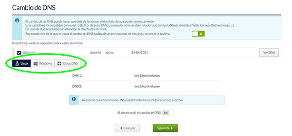 Panel de cliente Hostinet - Cambiar DNS (Nueva interfaz)