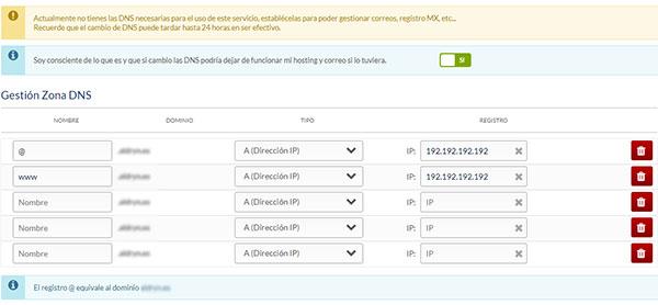 hostinet panel cliente gestionar zona dns registro tipo A