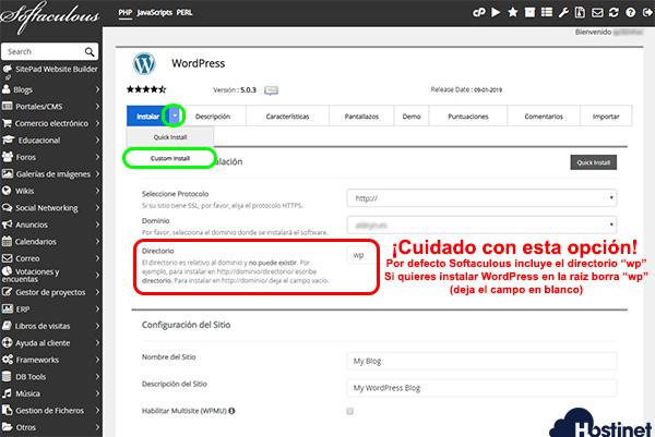Wordpress Softaculous Custom Install