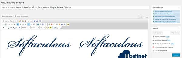 Instalar WordPress 5 desde Softaculous con el Plugin Editor Clásico
