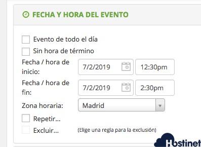 anadir hora evento aio event calendar WordPress