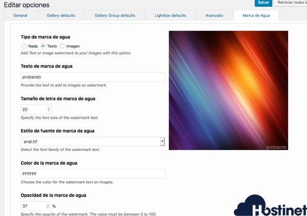 photo gallery marcas agua WordPress