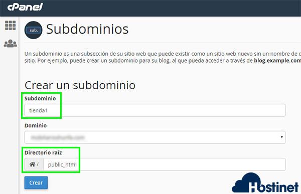 subdominios tienda1 public_html