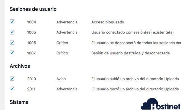 acciones de usuario audit log WordPress