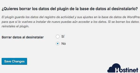 eliminar datos audit log WordPress