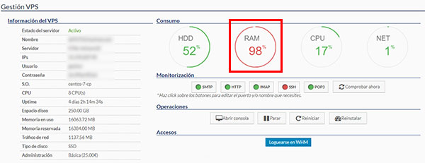 hostinet panel cliente ram vps