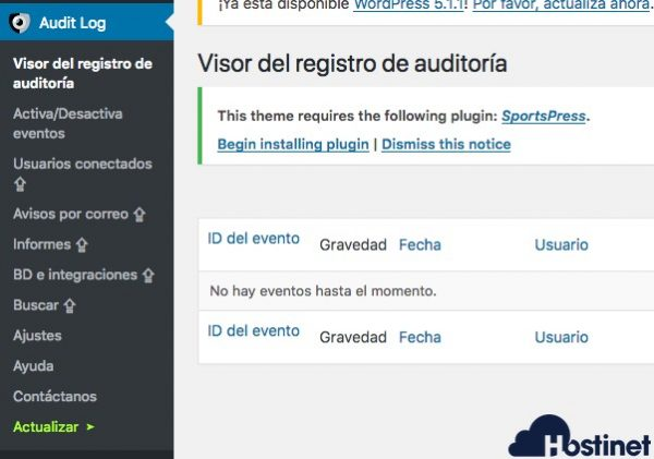 menu audit log WordPress